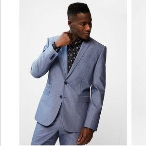 EXPRESS Slim Fit Blue Chambray Cotton Suit Jacket
